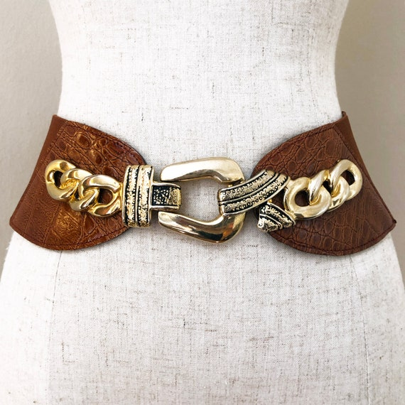 Vintage Brown & Gold Chain Statement Belt