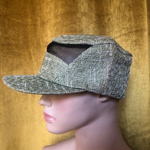 Vintage Olive Green Straw Baseball Hat Cap