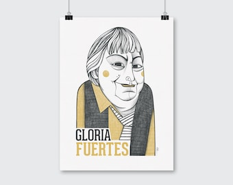 Gloria Fuertes illustration. Drawing portrait print.