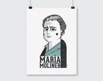 Maria Moliner portrait illustration. Drawing of the Spanish librarian and lexicographer.