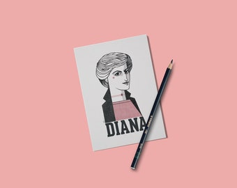 Lady Diana gift card. Princess Diana portrait illustration.