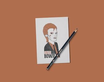 David Bowie print, illustration card, music lovers, LGBTQ gifts.