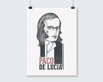 Paco de Lucia Poster. Illustration portrait art print