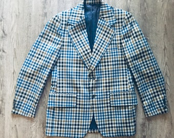 91f565834a7bb1 Vintage JCPenney Blue, Yellow, Gray Checkered Sport Coat