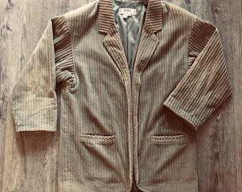 eb8369f438a Vintage Irka Beige Wide Corduroy Jacket with Shoulder Pads
