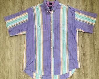 a86673ab Vintage Men's J.J. Oliver Purple Striped Short Sleeved 80's 90's Casual  Buttondown Size Large Shirt