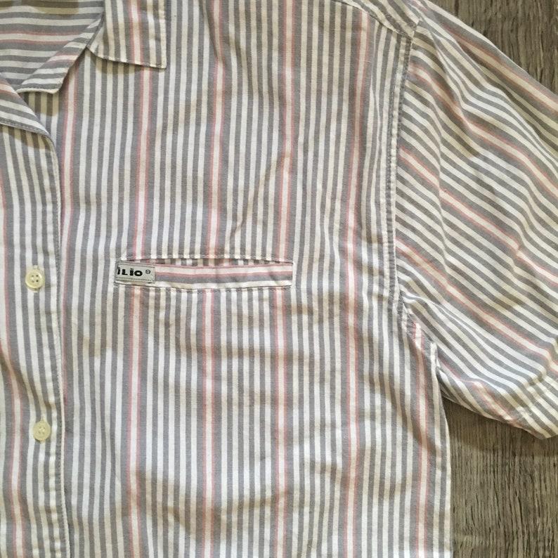 Vintage Women/'s Ilio White Gray Stripe Short Sleeve Shoulder Pads Blouse Size Medium