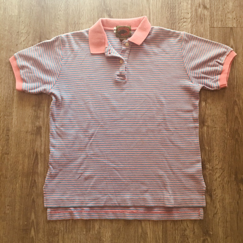 Vintage 80s Boston Traders Pink /& Blue Preppy Medium Polo