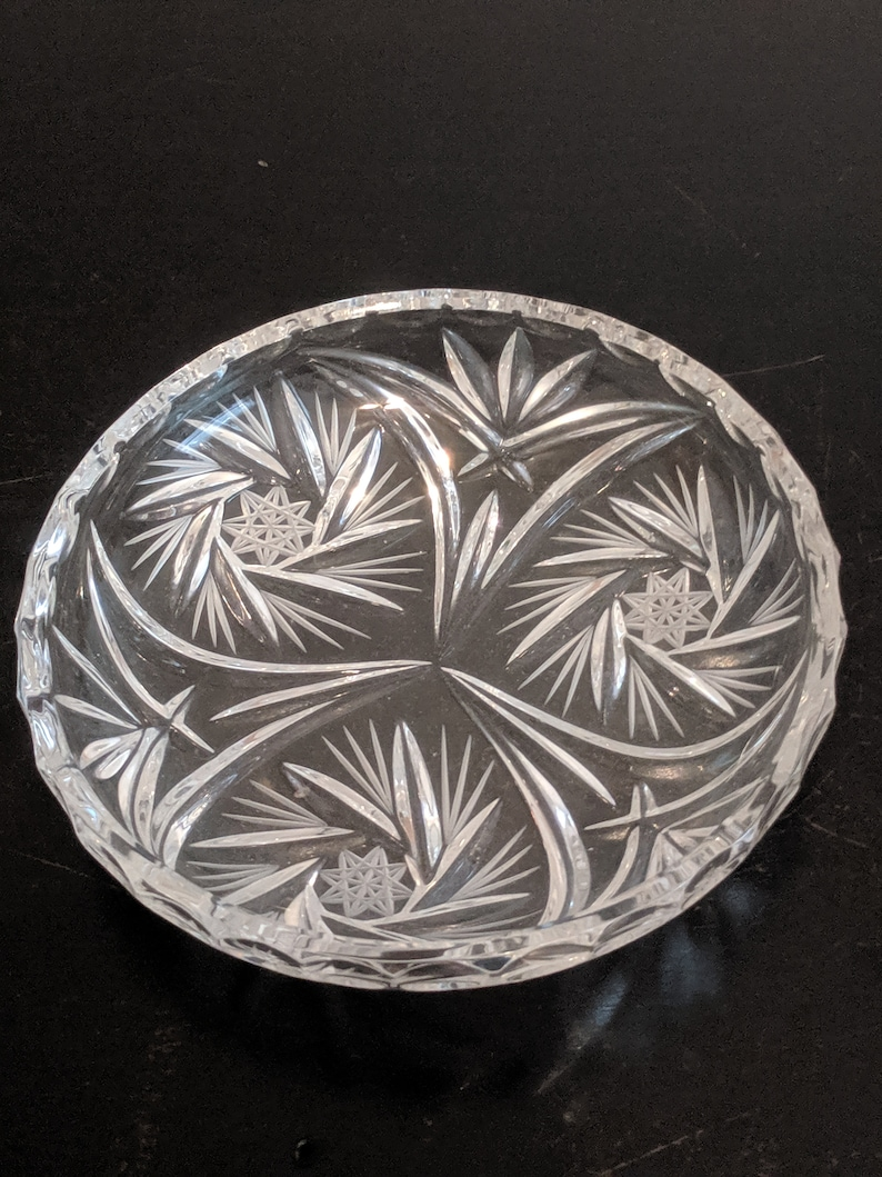 6 Vintage Crystal Ashtray Approx