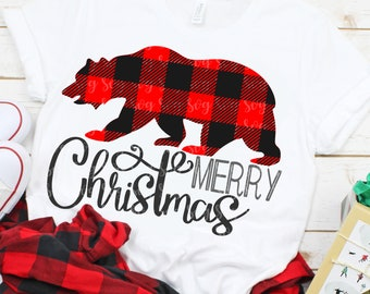 plaid bear svg,christmas bear svg,Christmas svg, bear svg,merry christmas SVG, DXF, EPS, Christmas svg,svg for cricut,southern Christmas svg