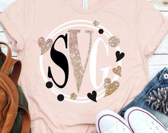 Heart valentine svg,monogram svg,circle monogram svg,heart monogram,heart svg,monogram svg, cricut svg, svg for mobile, mobile svg