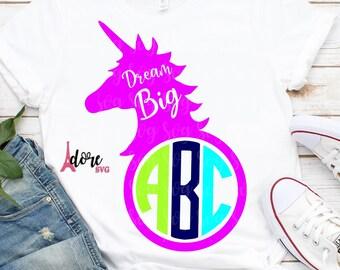 unicorn monogram svg,unicorn svg,unicorn face svg,dream big svg,svg unicorn,svg for cricut,unicorn face svg,unicorn shirt,girlie unicorn
