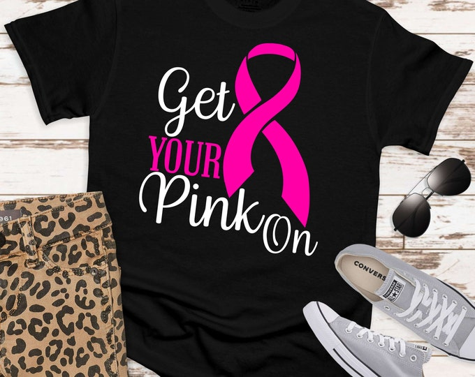 Featured listing image: get your pink on ribbon svg, awareness SVG, breast cancer svg, cancer Svg Designs,cancer Cut Files,svg for cricut,svg for mobile