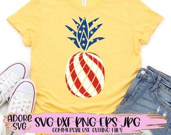 Independence Day svg, Patriotic Pineapple Svg, 4th of July Svg, American Flag Pineapple Svg, Summer svg, Summer Svg Design, Summer Cut File