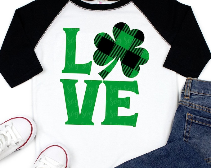 Featured listing image: shamrock love plaid Svg, st patricks day svg, st pattys day SVG,File for Cutting Machines Cameo Cricut, svg for Cricut,irish svg,plaid svg
