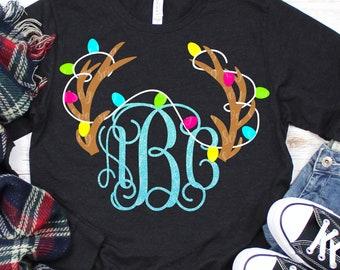 christmas antler monogram svg,antler with lights svg, Christmas svg, matching family svg,family christmas svg,svg for Cricut,antler svg