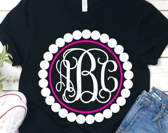 Pearl svg,monogram pearls svg,monogram svg,circle monogram svg,pearl svg,girlie monogram svg,preppy svg,Pearl svg monogram,southern monogram