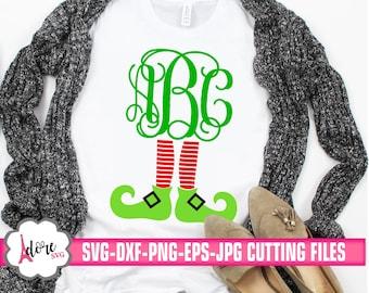 elf leg monogram svg, christmas svg, merry christmas, elf svg, christmas monogram svg,svg for cricut,eps,digital download, dxf, cricut