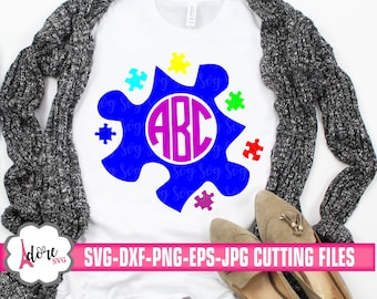 autism puzzle svg, autism monogram SVG, awareness svg, tshirt, autism son svg, cricut design, silhouette, ausome daughter svg,svg,eps,dxf