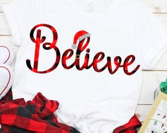 plaid Believe SVG, plaid svg,Christmas Svg, Santa Svg, Santa Hat Svg, Believe in Santa Svg, Svg Files, DXF,Svg for Cricut,Svg for Silhouette