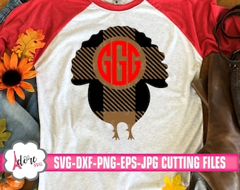 gingham monogram svg, Plaid turkey monogram svg, turkey svg,plaid svg,fall svg,gingham plaid cut file,thanksgiving svg, adore,turkey day svg