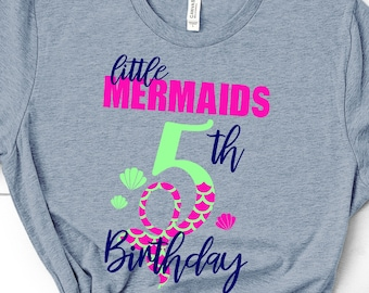 My 5th Birthday Mermaid Svg, Eps, Png,Clipart, Cut File, Mermaid Birthday Svg, Mermaid Girl Svg, svg for Cricut, Mermaid Vibes, Birthday Svg