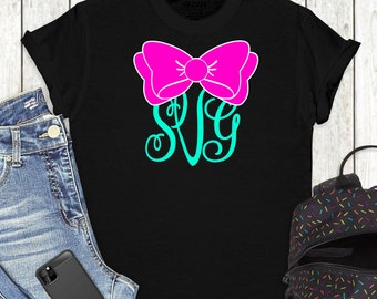 Bow Monogram SVG,Bow SVG,Monogram SVG,Circle Monogram svg,Monogram Bow svg,cut files, cricut svg, svg for mobile, mobile svg