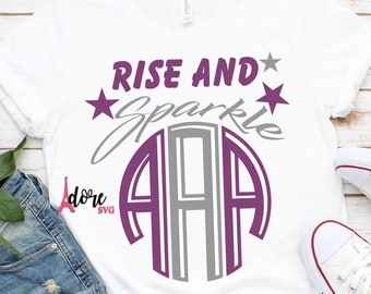 rise and shine svg,monogram svg,star svg,monogram tshirt,onesie svg,svg for cricut,baby girl svg,girl svg,birthday shirt girl svg,girl svg