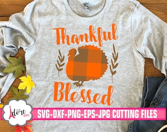 thankful & blessed svg, Gingham Plaid svg, turkey svg, plaid svg, fall svg,gingham plaid cut file,thanksgiving svg, adore svg,turkey day svg