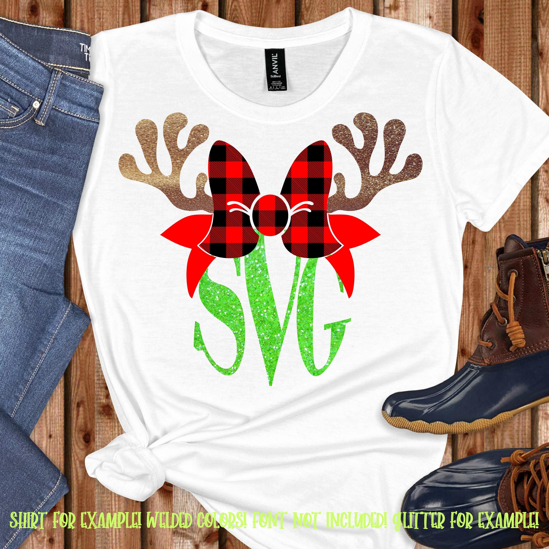 Plaid Reindeer Monogram Svg Antler Bow Svg Christmas Monogram Svg Christmas Svg Design Christmas Cut File Svg For Cricut