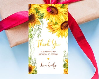 Sunflower Birthday Favor Tag Template, Thank You Tags, Printable Instant Download, Corjl - SUN01