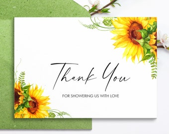 Thank You Notes, Sunflower Baby Shower Thank You Card Template, Sympathy Thank You, Tent Card, SUNB01