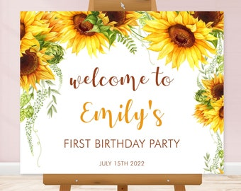 EDITABLE Sunflower Birthday Welcome Sign, Digital Welcome Template • INSTANT DOWNLOAD • SUN01