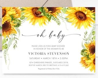 Sunflower Baby Shower Invitation, Oh Baby Shower Invite, Gender Neutral Floral Invitation Template - SUNB01