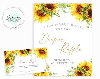 Sunflower Diaper Raffle Card Ticket Printable, Diaper Raffle Sign, Sunflower Baby Shower Games, INSTANT DOWNLOAD, SUNB01