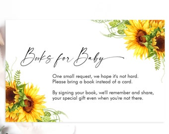 Books for Baby Sunflower Baby Shower, Book Insert, Bring a Book Printable, INSTANT DOWNLOAD - SUNB01
