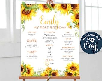 Sunflower Baby Girl 1st Birthday Milestone Board, Floral Milestone Sign, Baby Keepsake, Milestone Poster Printable Editable, Corjl - SUN01