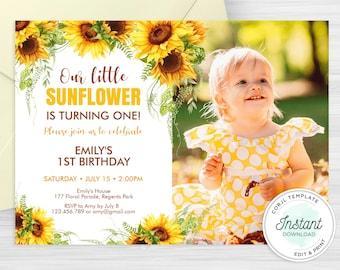 Editable Sunflower Birthday Invitation Template, Floral First Birthday Invite - SUN01