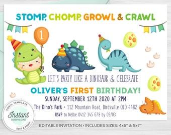 Dinosaur Birthday Invitation, First Birthday Dino Party, Baby Dinosaurs Invite, Corjl Invitation, Instant Download, 4x6, 5x7 - DN19