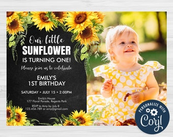 Editable Sunflower Birthday Invitation Template, Black Chalkboard Floral First Birthday Invite - SUN01