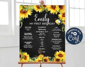 Sunflower Milestone Board, Black Chalkboard Bee Floral Milestone Sign, Baby Keepsake, Milestone Poster Printable Editable, Corjl - SUNBK01