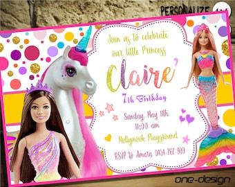 Barbie BirthdayBarbie PartyBarbie RainbowBarbie MermaidBarbie DreamtopiaBarbie UnicornCustom Design9