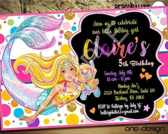 Barbie BirthdayBarbie PartyBarbie PrintableBarbie Digital DownloadBarbie MermaidCustom Design14