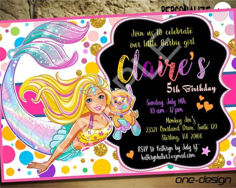 Barbie InvitationBarbie BirthdayBarbie PartyBarbie PrintableBarbie Digital DownloadBarbie MermaidCustom Design14