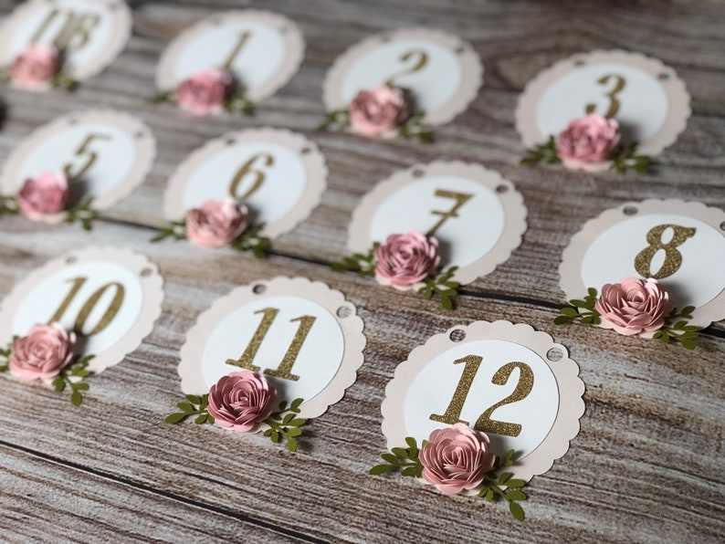 First Birthday Photo Banner  Gold  First Birthday  Baby  Girl  Floral
