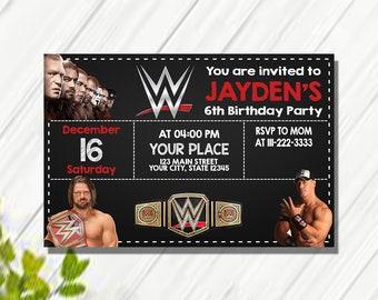 WWE Birthday Card Invitations Printable Party