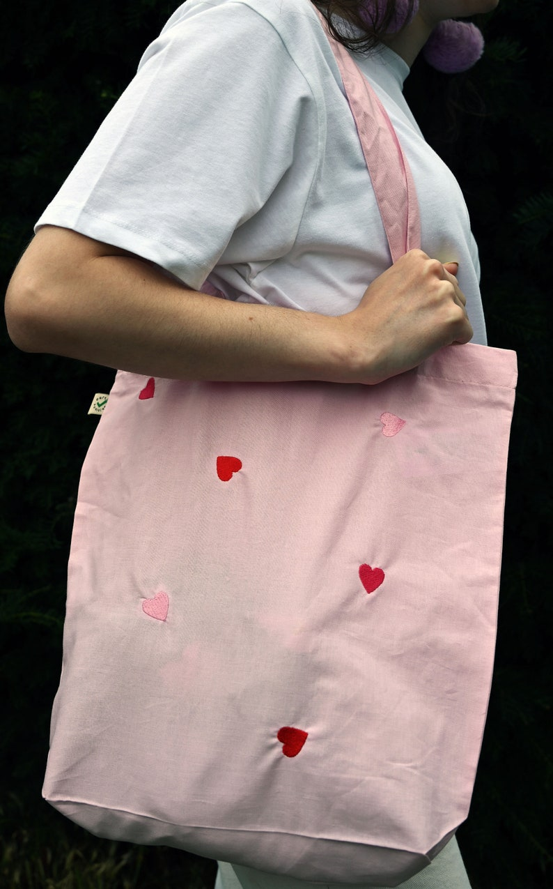 EMBROIDERED HEARTS  Vegan  Organic Cotton  Ethical Tote image 0
