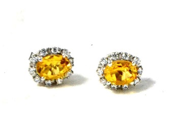 American Diamond Cluster Studs Natural CITRINE STUDS EARRINGS in 925 Sterling Silver 13th Anniversary Gift Yellow Oval Cut Stones