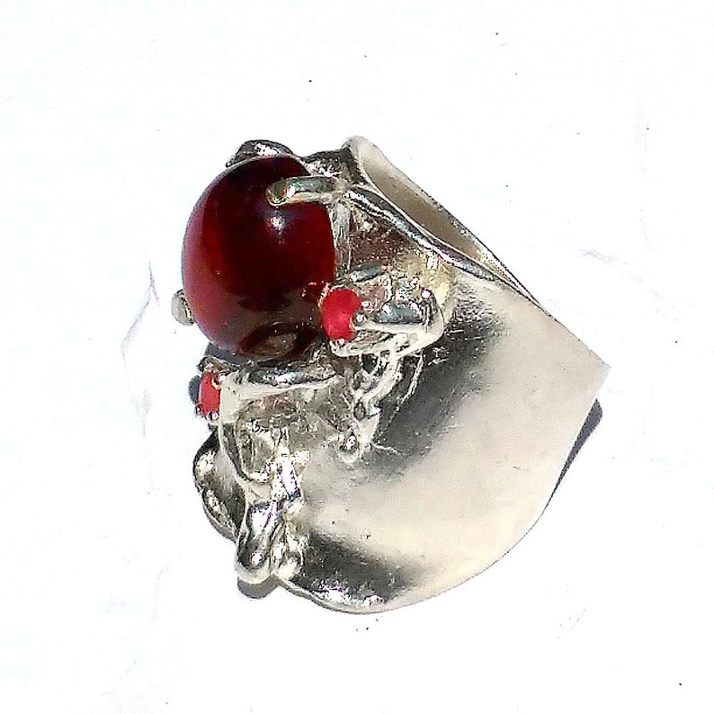 Heavy Ring for Women Natural GARNET RING with Natural RUBY in 925 Sterling Silver Oval Cabochon Stone High Quality Red Garnet Stone