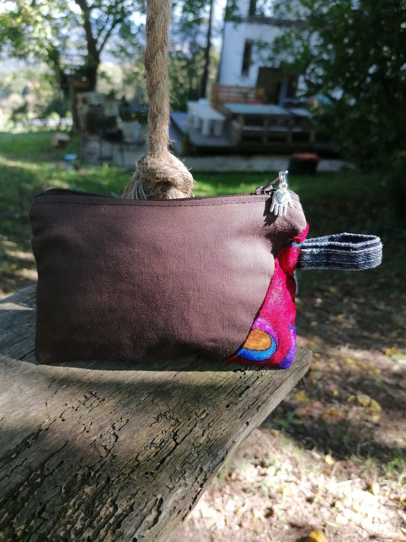 Handmade Unisex Upcycled brushed cotton coin purse  makeup bag  travel wallet zipper pouch  unique  sustainable
